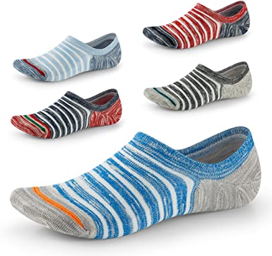 heekpek 6 Pairs Mens Socks Ankle Low Cut Non Slip Grip Footies Invisible Liner Casual Socks for Loafers Sneaker Boat Shoes Oxfords