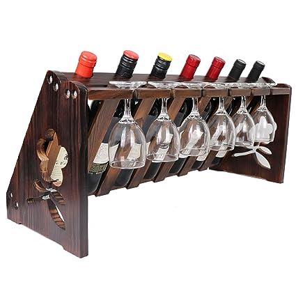 JRLinco Tablero de sobremesa de Madera para Vino con Soporte de Vidrio para 7 Botellas 6