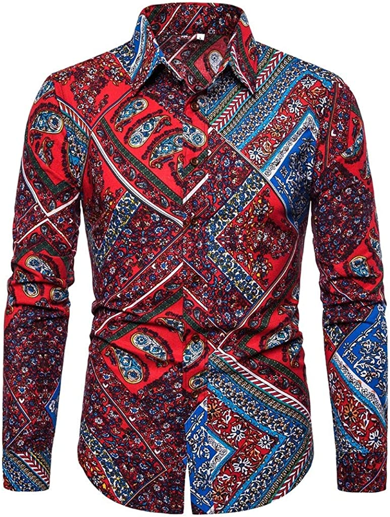 Mfasica Men Floral Printing Silm Fit Long Sleeve Peaked Collar Casual Dress Shirt