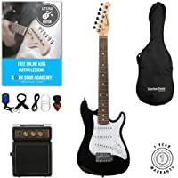 Stretton Payne 1/2 Size Electric Guitar with practice amplifier, padded bag, strap, lead, plectrum, tuner, spare strings. Guitar in Black