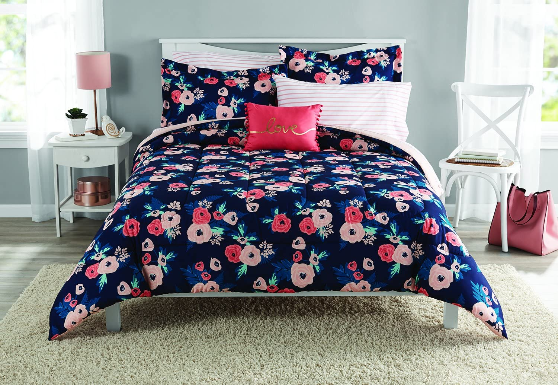 Mainstays Garden Floral Bed in a Bag Bedding Set, Full Size Comforter Set