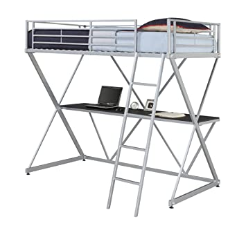 Amazon Com Dhp X Loft Metal Bunk Bed Frame With Desk Silver With