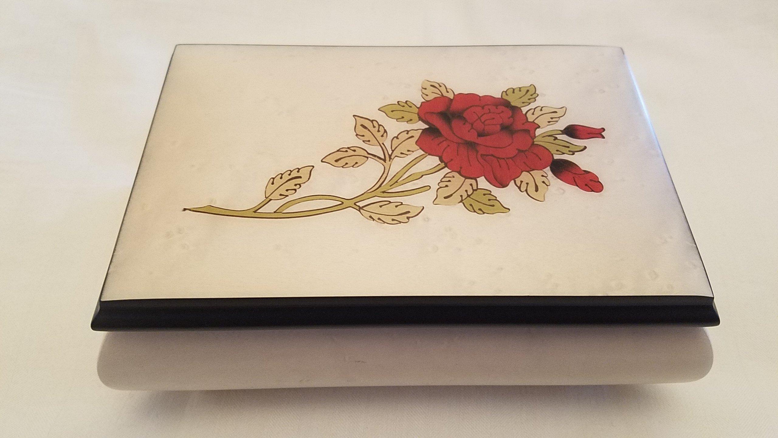Italian inlaid musical jewelry box