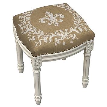 Stools   Fleur De Lis Upholstered Stool   Vanity Seat   Beige Linen Seat  Cushion