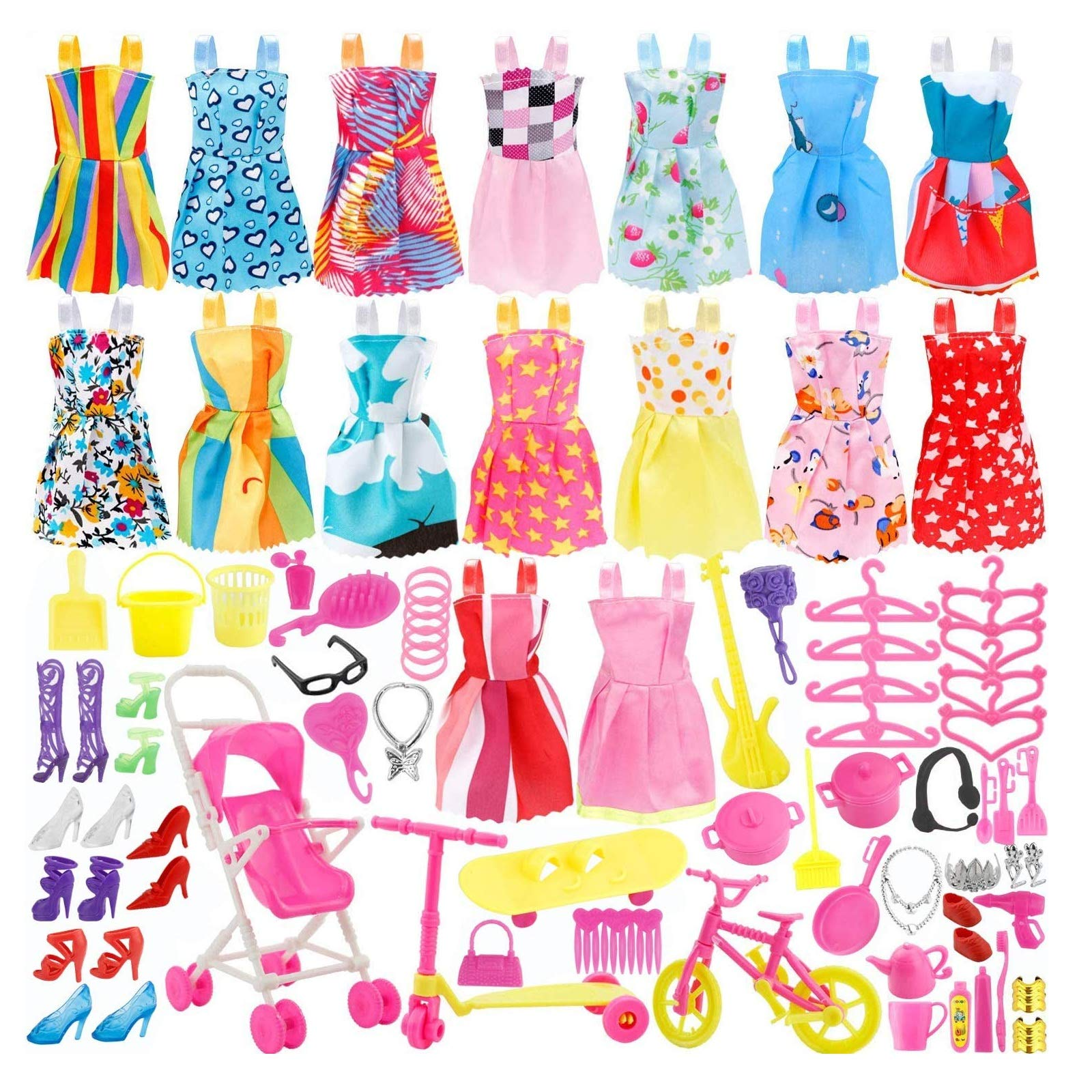 JANYUN Dolls Fashion Set for Dressing up Dolls Included Wedding Party Outfits Clothes Doll Accessories Shoes Bags Necklace Girls' Gifts (Playing)