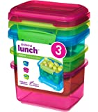 Sistema Lunch Food Storage Container with Contrasting Clips, Green/Pink/Blue, 400 ml, Pack of 3