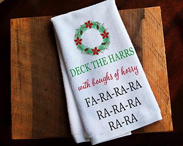 Amazon Com Funny Kitchen Towel Christmas Story Deck The Halls Handmade