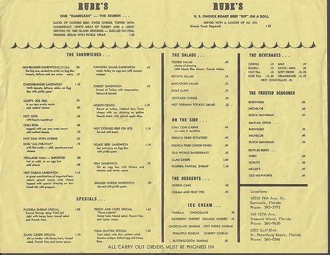 Rube S Restaurant Menu Sheet 1960s Seminole Treasure Island