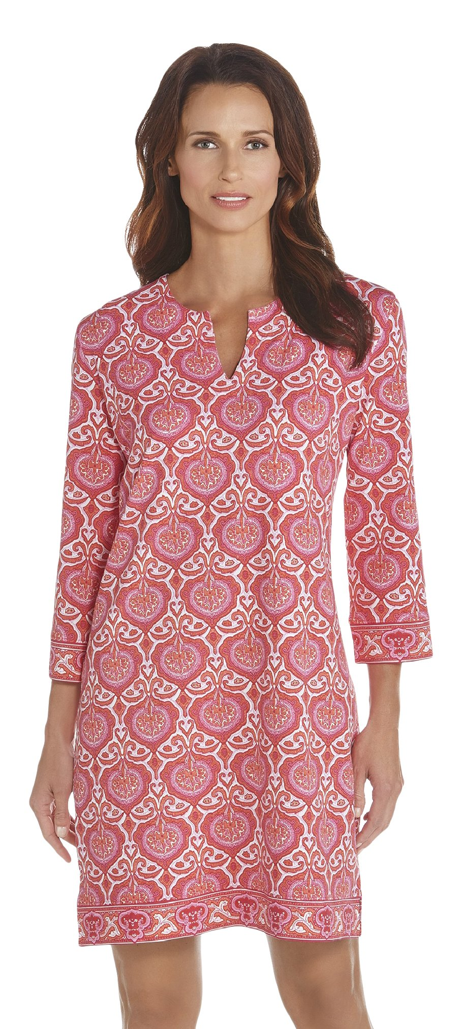 680a88db70e Coolibar UPF 50+ Women s Oceanside Tunic Dress - Sun Protective (Large-  Pink Moroccan Mosaic) Sports Apparel