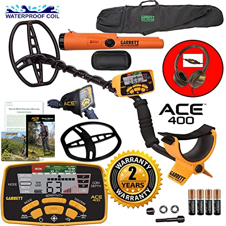 Amazon.com : Garrett ACE 400 Metal Detector with Waterproof Coil Pro-Pointer AT and Carry Bag : Garden & Outdoor