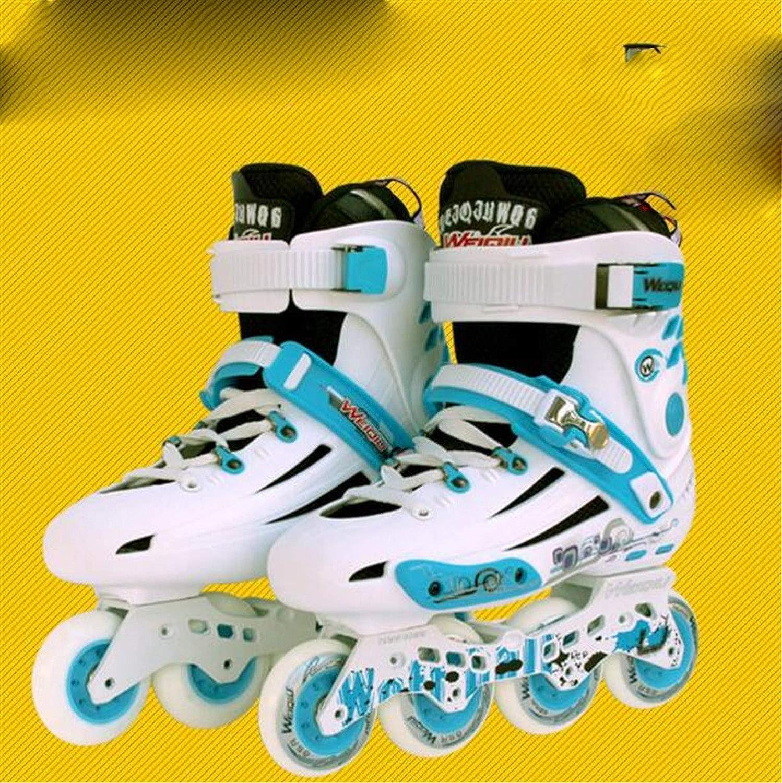 LNYF-OV インラインスケート 大人用 ファンシー 1列 スムースシューズ ストレートローラースケート 男性と女性 大人用 ライディング アウトドア ホワイト Small