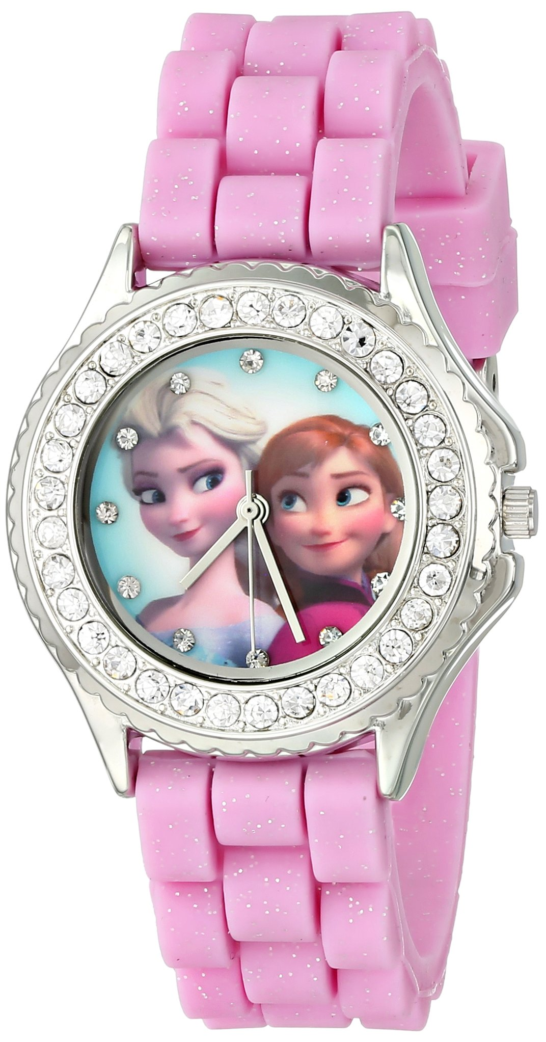 Disney Kids' FZN3554 Frozen Anna and Elsa Rhinestone-Accented Watch with Glittered Pink Band by Disney
