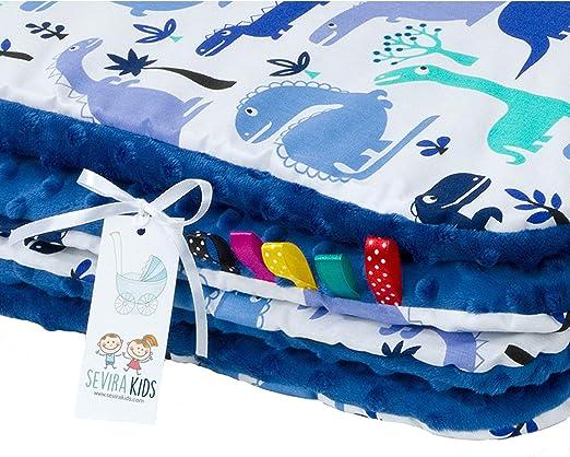 Fabriqu/é en Europe Sevira Kids Bleu Cadeau Naissance Couverture plaid Minky B/éb/é et Enfant Ultra Douce Entretien Facile