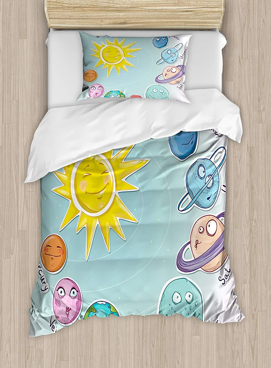 Space Duvet Cover Set,Cute Cartoon Sun and Planets of Solar System Fun Celestial Chart Baby Kids Nursery Theme,Cosy House Collection 4 Piece Bedding Sets