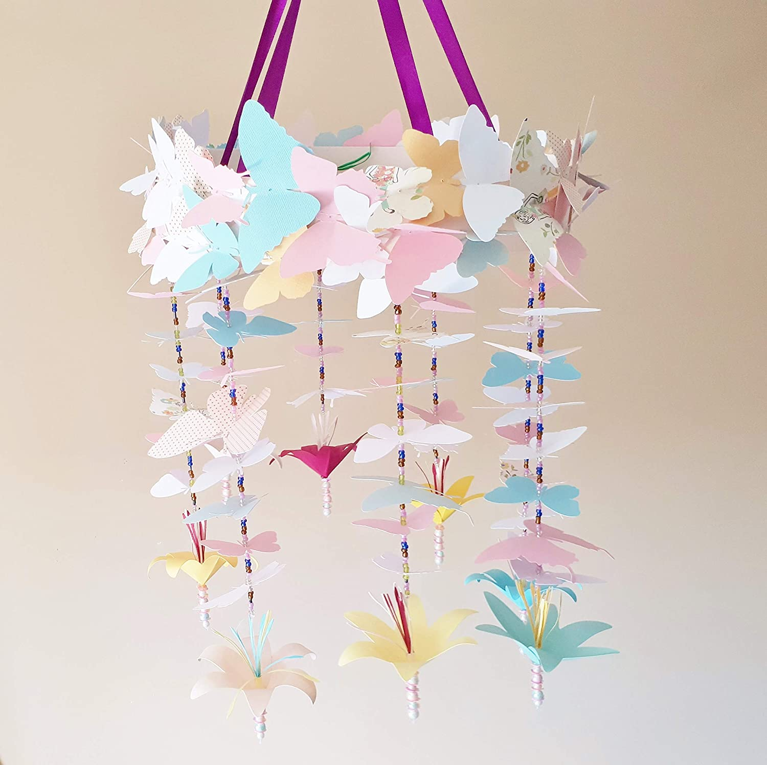 Amazon Com Baby Nursery Mobile Decor Butterflies And Paper Flower