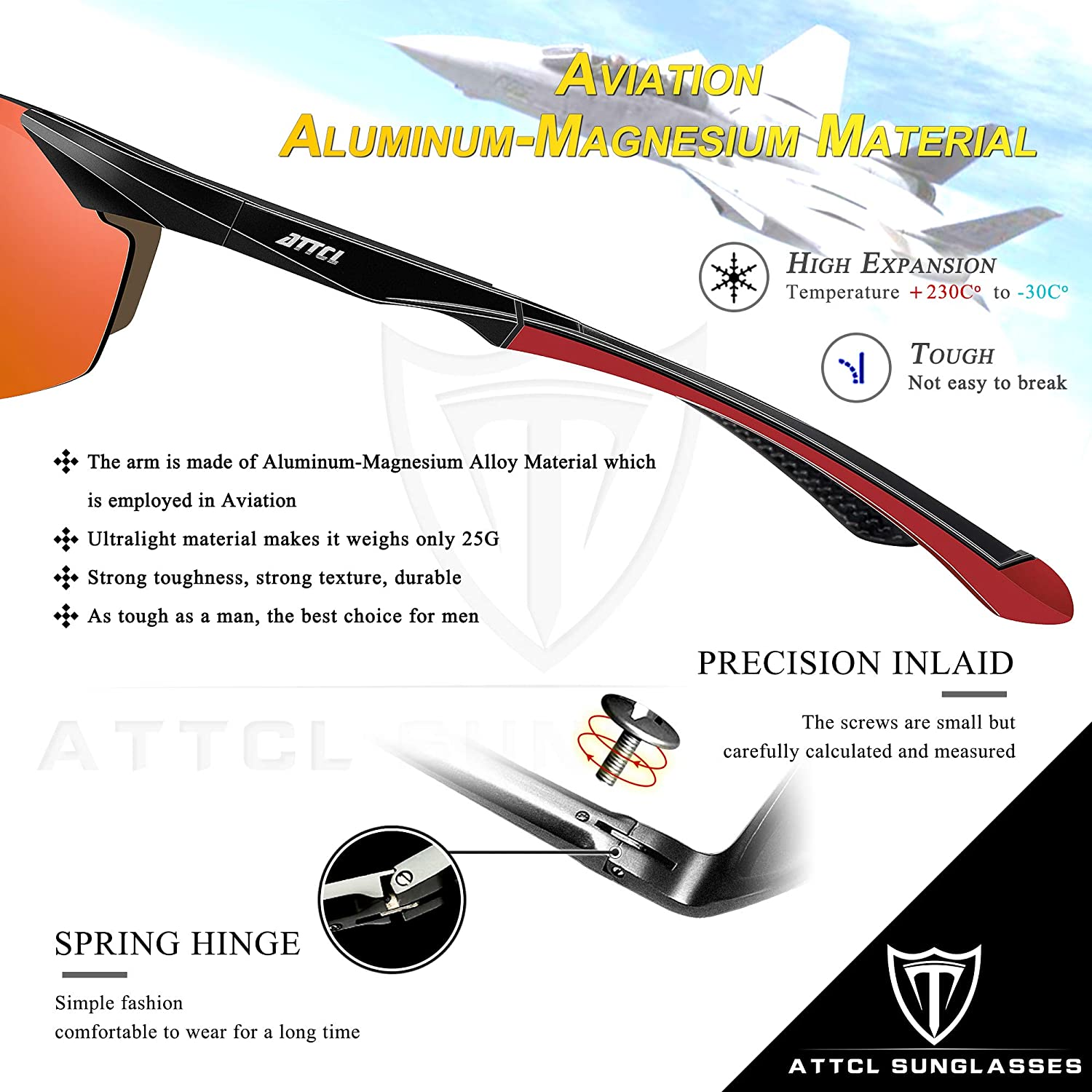 ATTCL Polarized UV Protection Sports Fishing Driving Sunglasses for Men Al-Mg Metal Frame Ultra Light