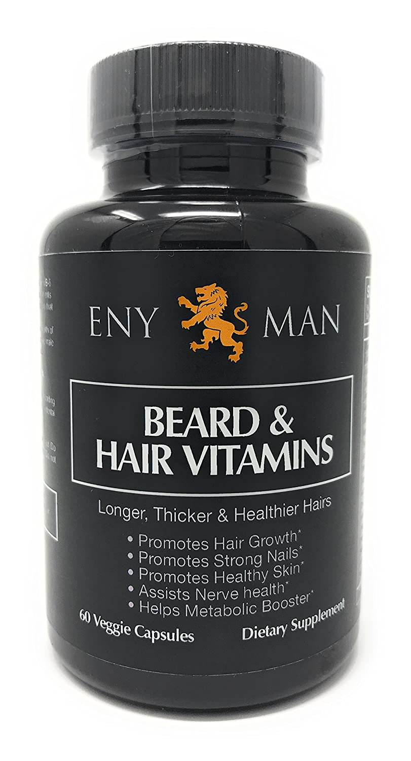Beard Growth Supplement With Natural And Essential Beard Vitamins and Biotin Promotes Faster Facial Hair Growth for Men| 60 Capsule | Fuller and Thicker Beard Grower ENYMAN