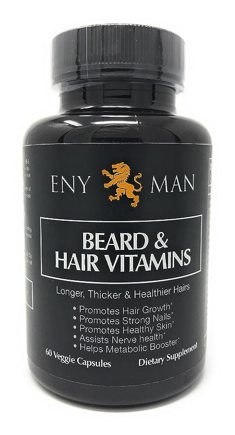 Suplemento de crecimiento de la barba con vitaminas naturales y esenciales y biotin que promueve un