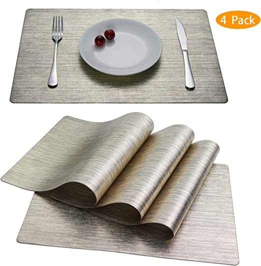 N//A Place Mats,Dining Table Placemats Sets of 6 Heat Resistant Washable Kitchen Table Mats,Pin Stripe Black Rose Gold Pattern