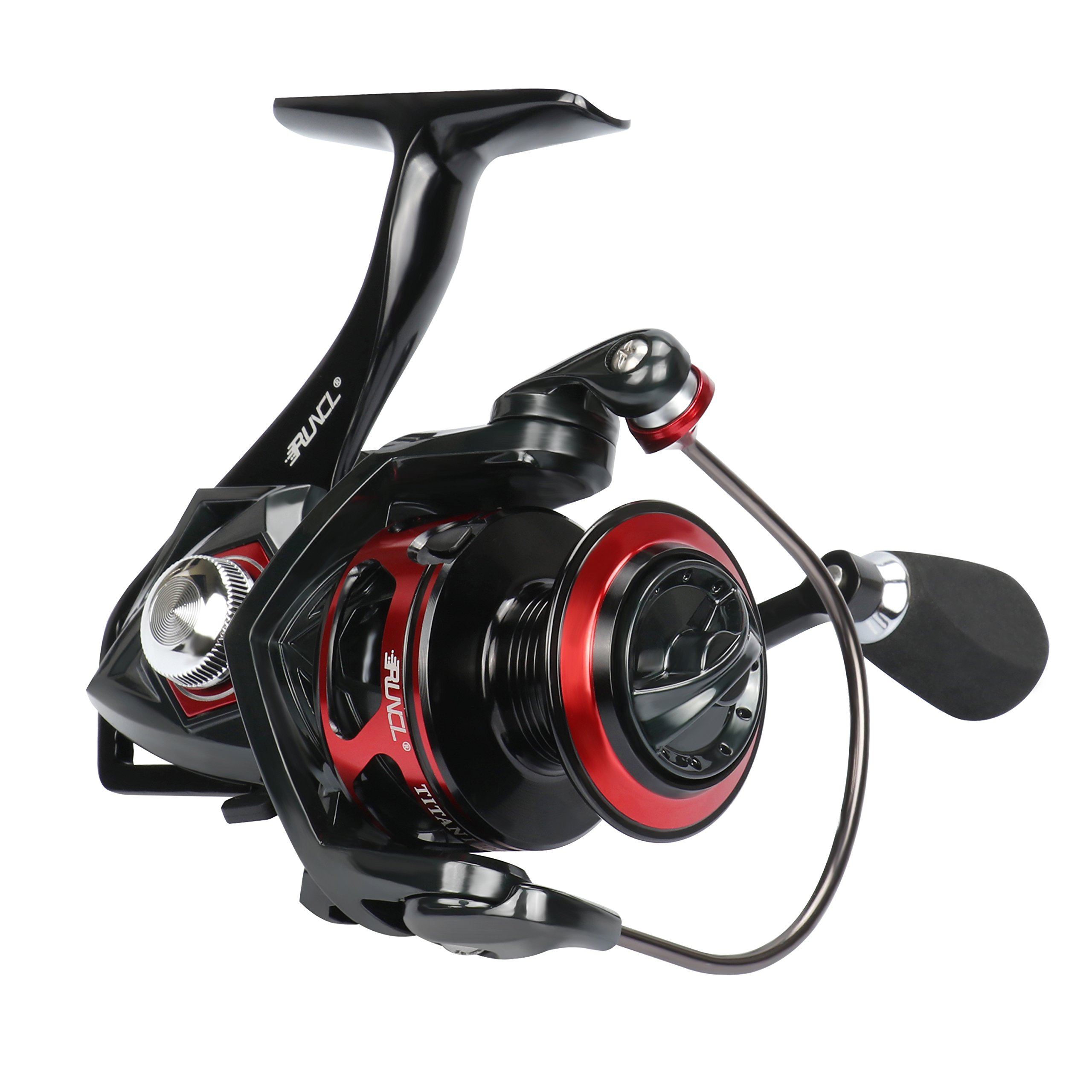 RUNCL Spinning Reel Titan I, Fishing Reel with Full Metal Body, Max Drag 33LB, 5 Carbon Fiber Drag Washers, 9+1 Stainless Steel Shielded Bearings, Hollow Out Rotor for Saltwater and Freshwater (3000) by RUNCL (Image #1)