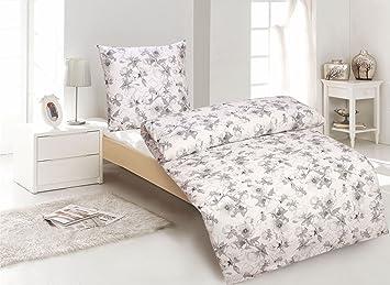 2tlg Bettwäsche Baumwolle Renforce Blumen Weiß 155x220 Mit