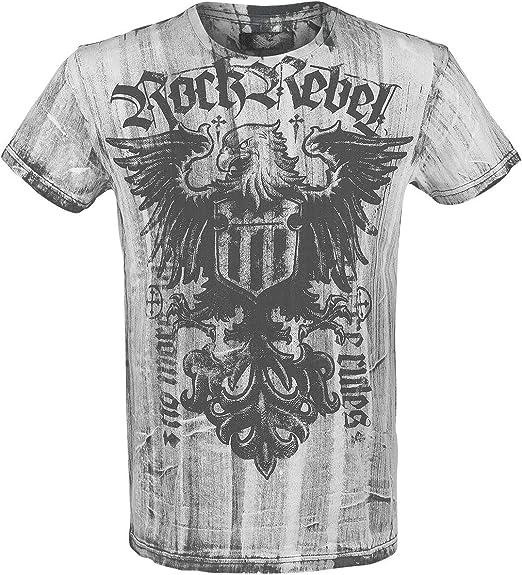 Rock Rebel by EMP Rebel Soul Hombre Camiseta Blanco S, 100% algodón, Vintage Regular: Amazon.es: Ropa y accesorios