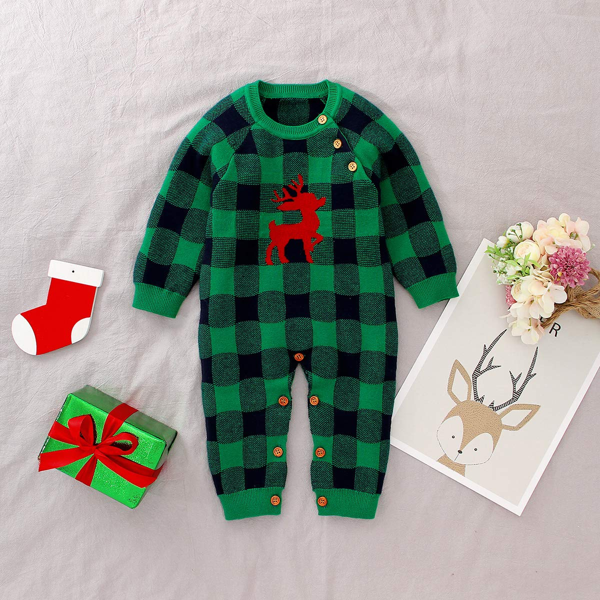 puseky Baby Boys Girls Long Sleeve Xmas Plaid Knit Romper Jumpsuit Christmas Elk Bodysuit Outfits