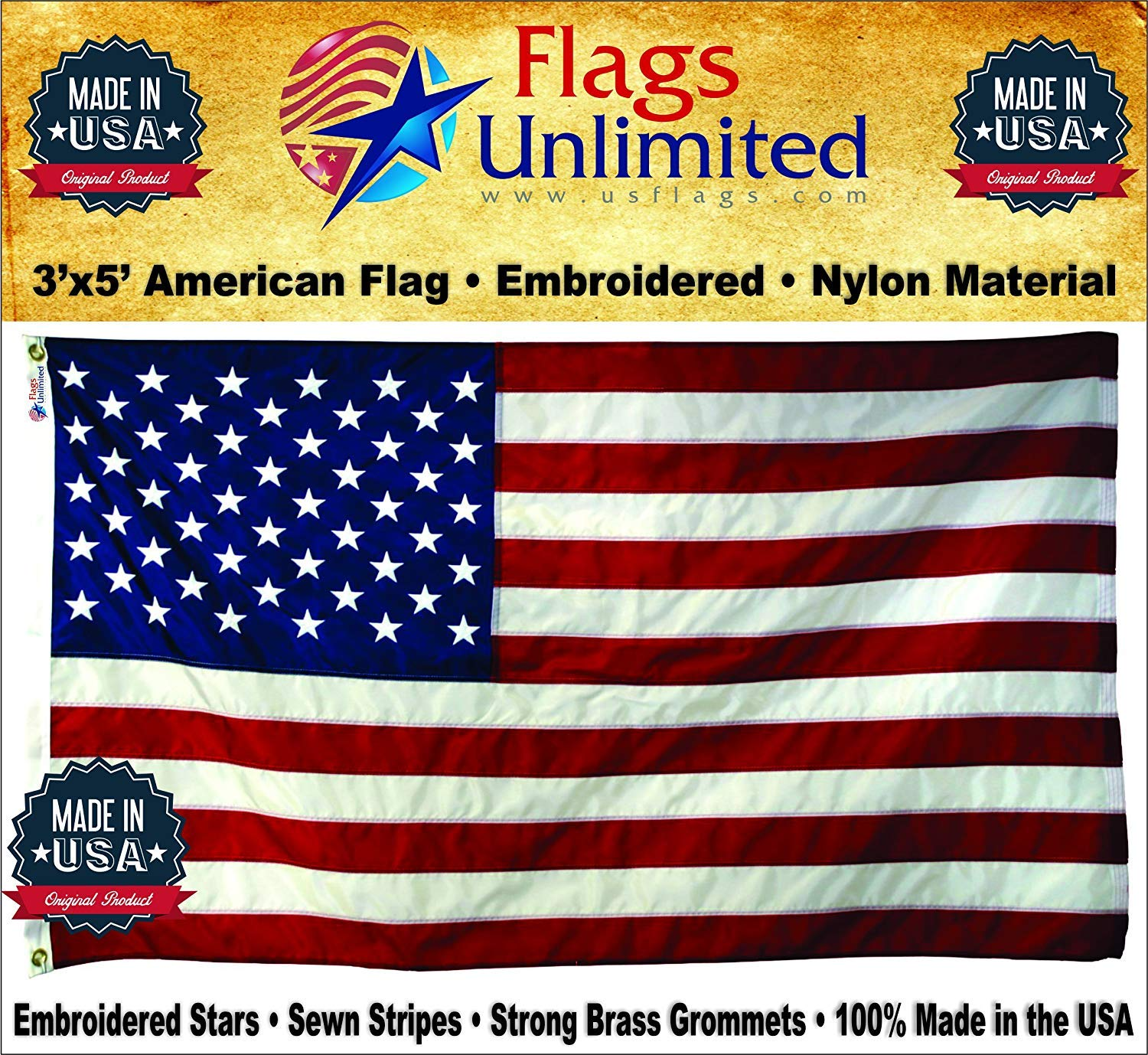 3/'x5/' US Nylon I American Flag USA FlagSource  MADE IN THE USA