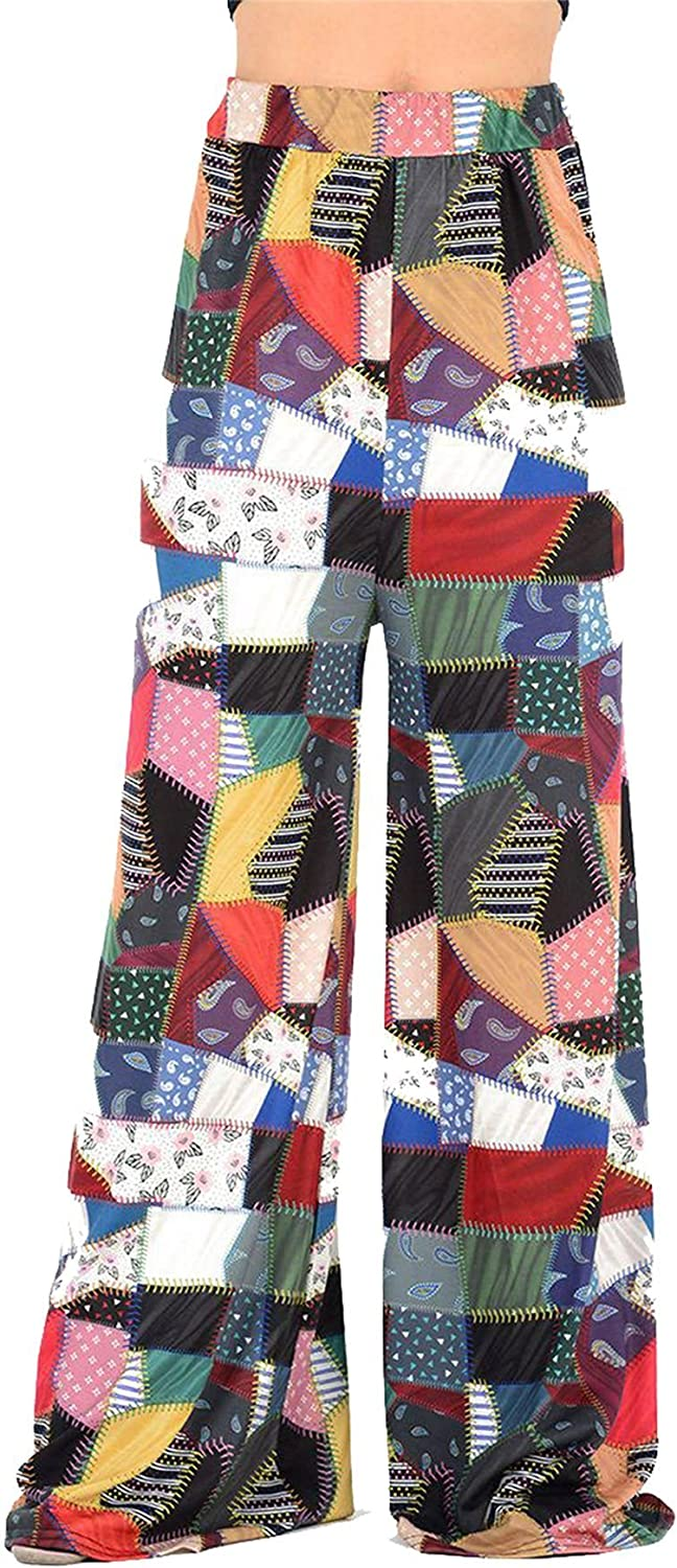 Ladies Flared Palazzo Womens Patch Work Harem Ali Baba Full Length Trouser