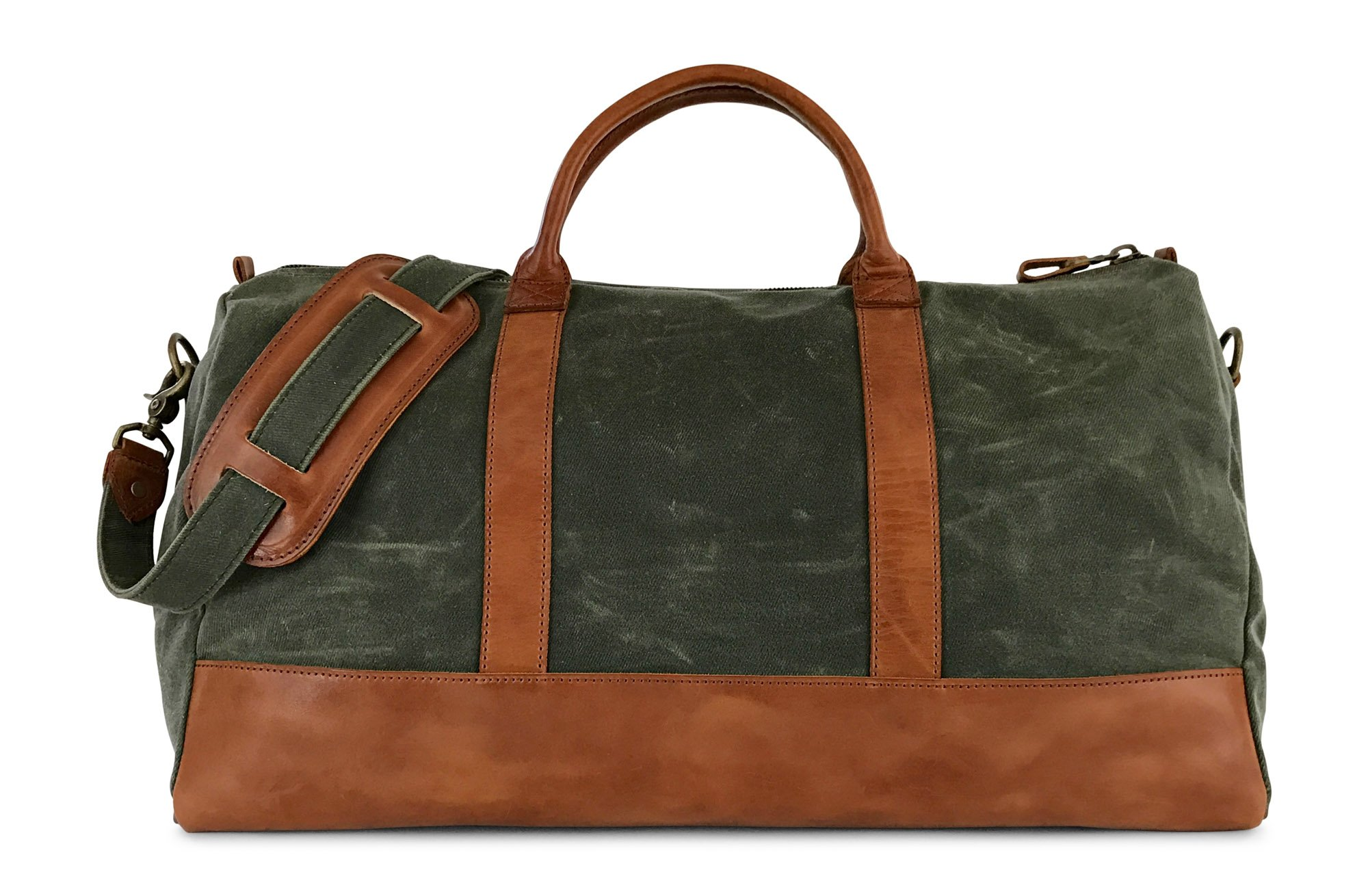 Waxed Canvas & Full Grain Leather Weekender Duffel Bag by Jackson Wayne (Saddle Tan/Alpine Green)