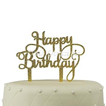 Amazoncom Unik Occasions Happy Birthday Acrylic Cake Topper Gold