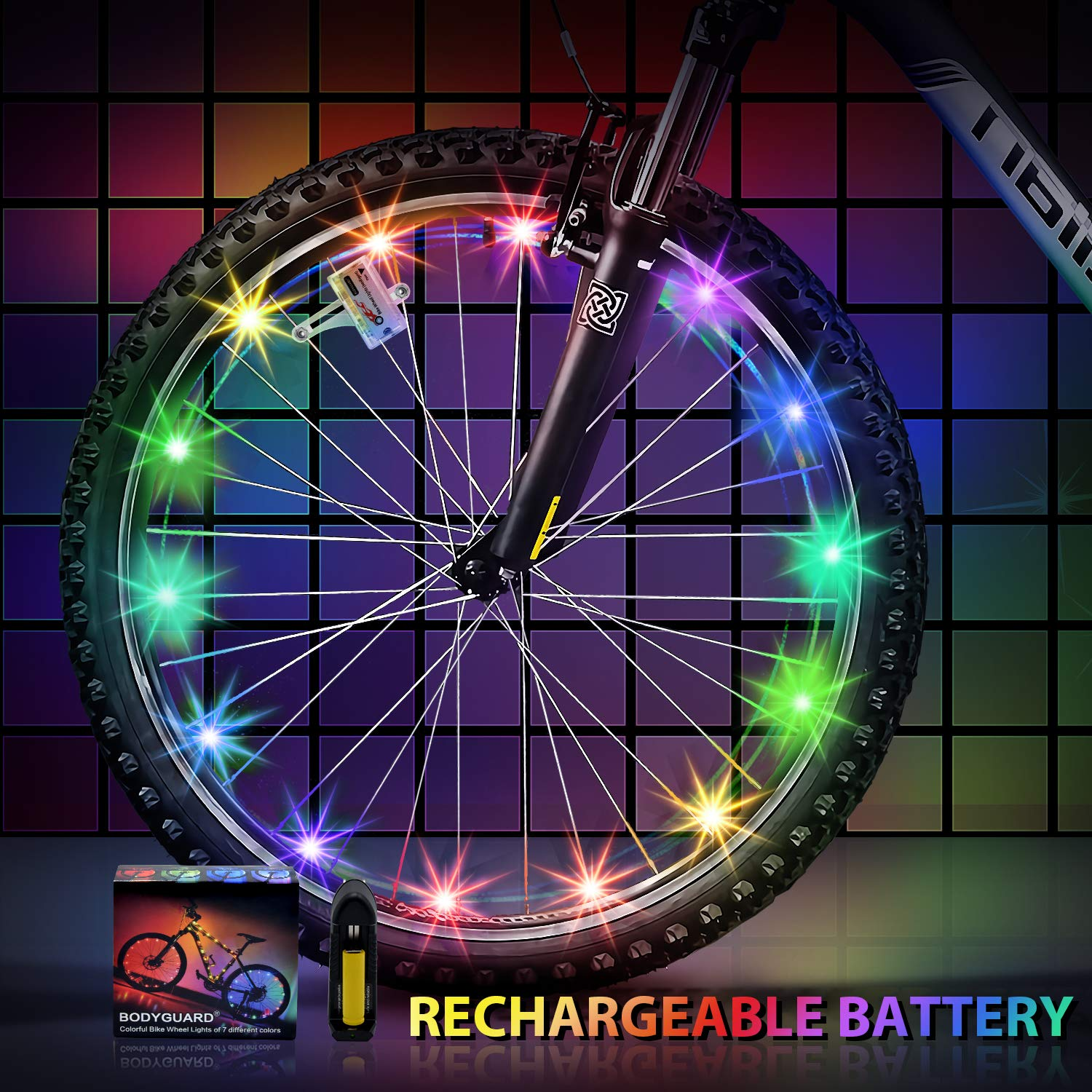 Bodyguard Newest 2019 Bike Wheel Lights Auto Discolorate, Keep Safe and More Attractive (1 Pack)…
