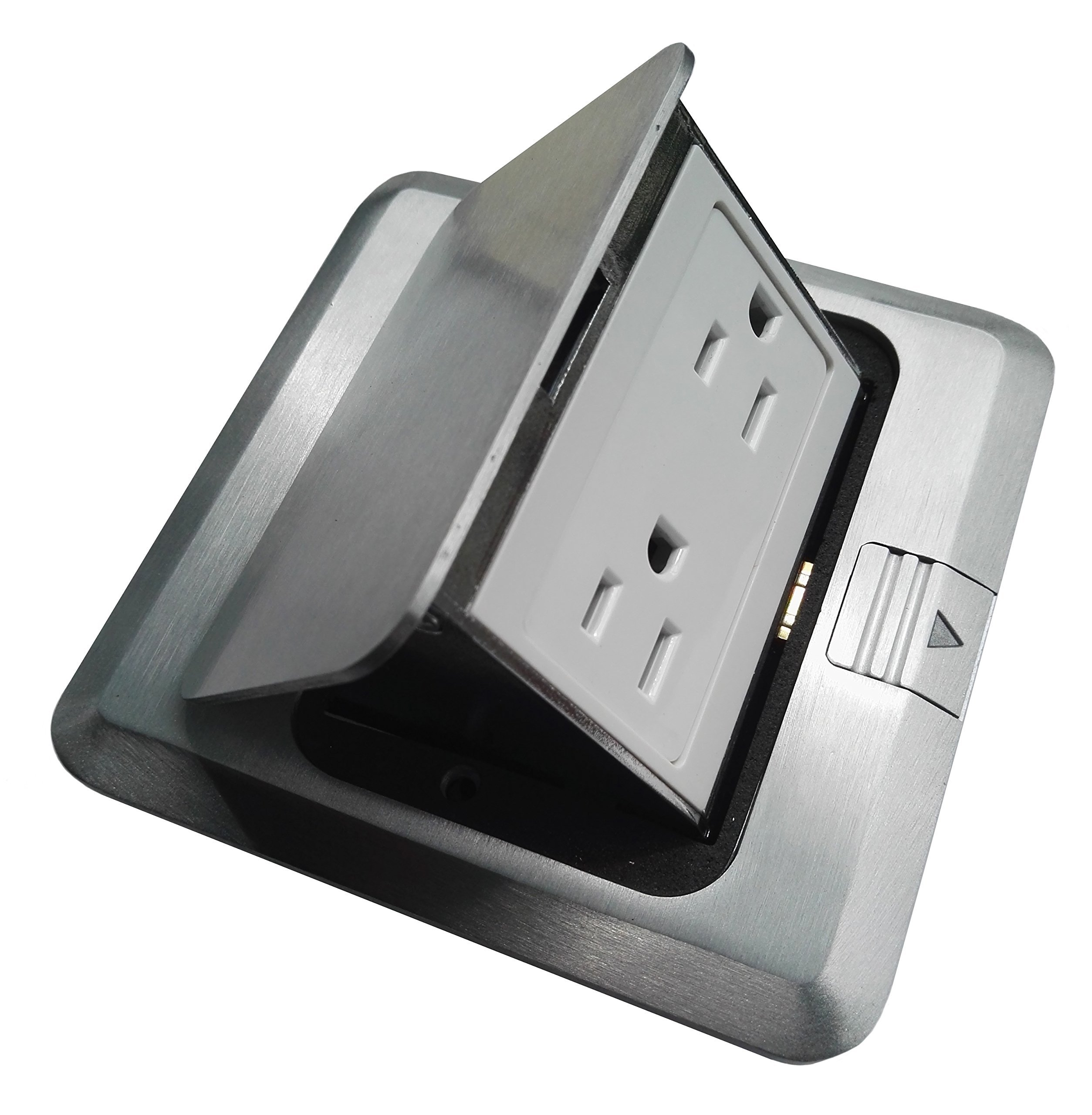 Pop Up Floor Box Countertop Box w/15A with Duplex Receptacle - Brushed-Stainless Finish by Lhfacc (Image #1)