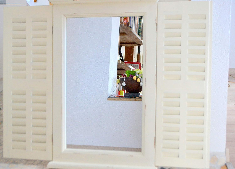 Maison en France Spiegel im Landhaus-Shabby-Stil, Stabiler h/übscher Holz-Fenster-Spiegel 70 cm Wandspiegel H/öhe ca