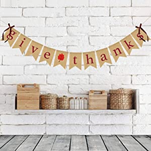 Thanksgiving Burlap Banner Give Thanks Linen Bunting Banner Decor Happy Thanksgiving Day Home Party Decoration Supplies