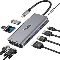 USB C Hub, Adaptador Tipo C Hub con 4K HDMI, VGA, Ethernet RJ45, Puertos USB 3.0, PD 100W, Audio de 3.5 mm, Hub Lector…