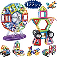 Hhobake 122 Pcs Magnetic Tiles Building Blocks Toys Set for Boys and Girls, Easter Basket Stuffers for Childen, 3D Magnet Stacking Preschool Gift for Kids Toddlers Children Age 3, 4, 5, 6, 7, 8, 9