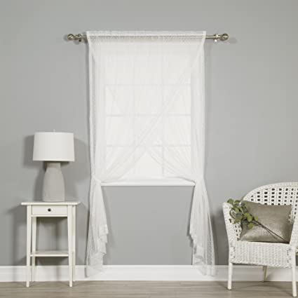 Best Home Fashion Sheer Lace Overlap Curtain