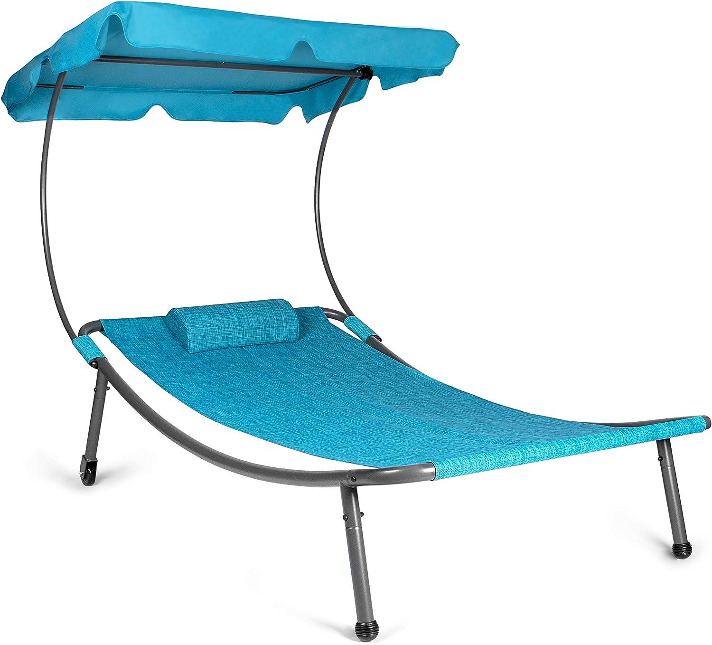 Park Alley PA-6828 Tumbona para 1 Persona con Techo y Almohada, Azul