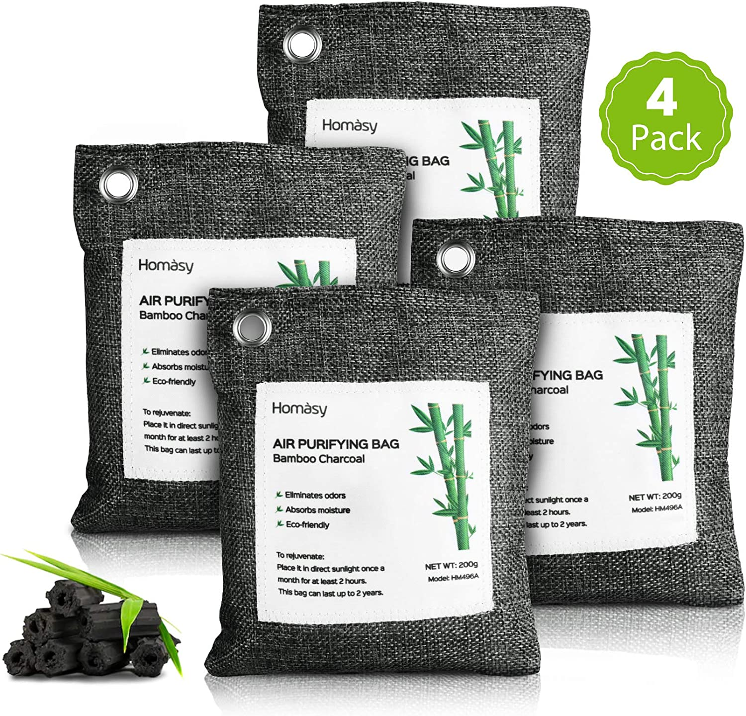 Homasy Bamboo Charcoal Purifying Bag with Activated Charcoal (4 x 200g with 4 Hooks) Removes Odors and Moisture, Natural Odor Absorber for Home, Pets, Car (Gray)