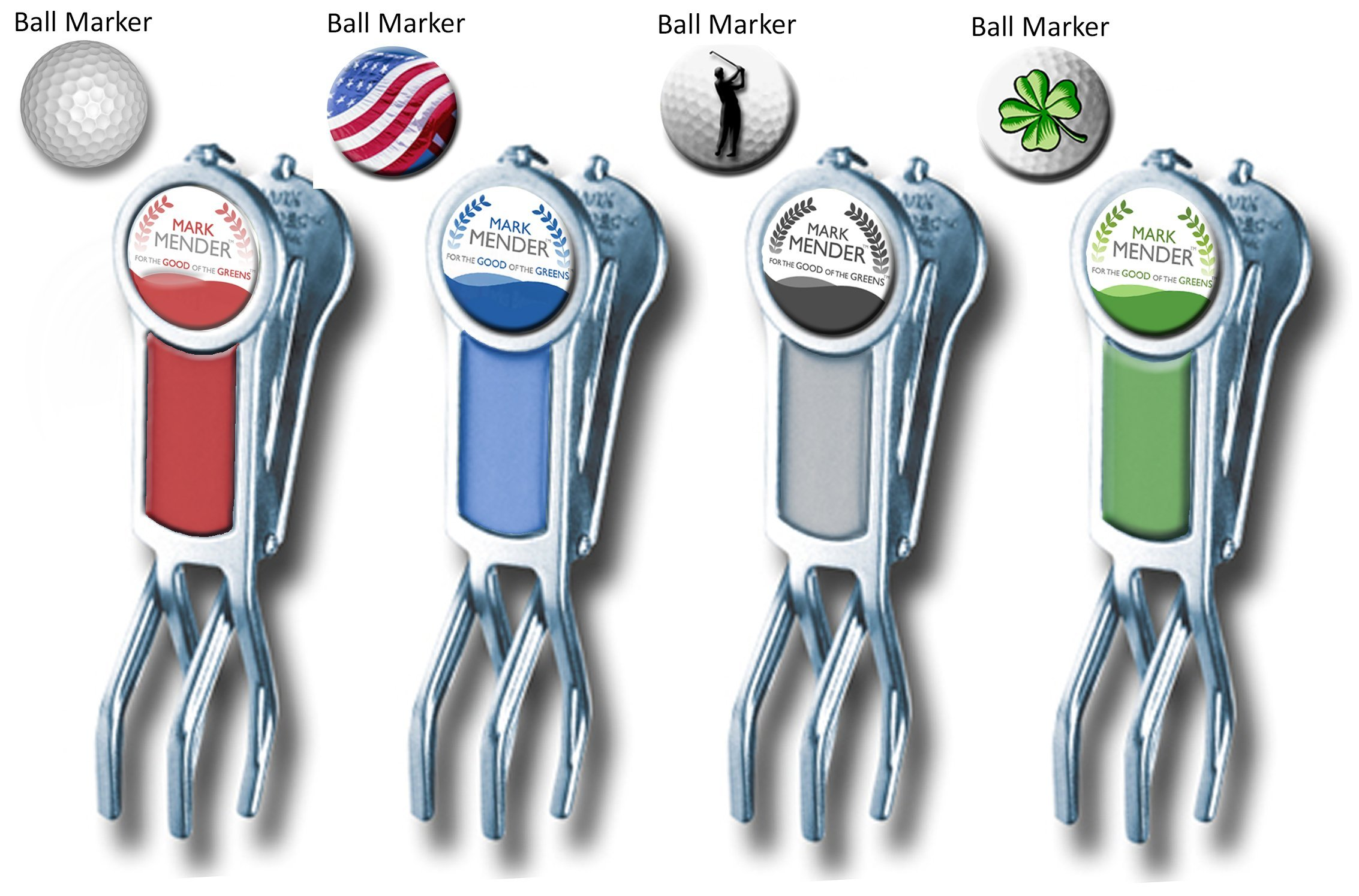 Mark Mender Golf Divot Repair Tool, Cigar Holder & Grip Rest, Repairs Ball Marks The Right Way, Magnetic Ball Marker, and Keeps Putters & Wedges off Wet Grass, Gifts for Him (4-Pack, 1 of Each) by Mark Mender (Image #1)