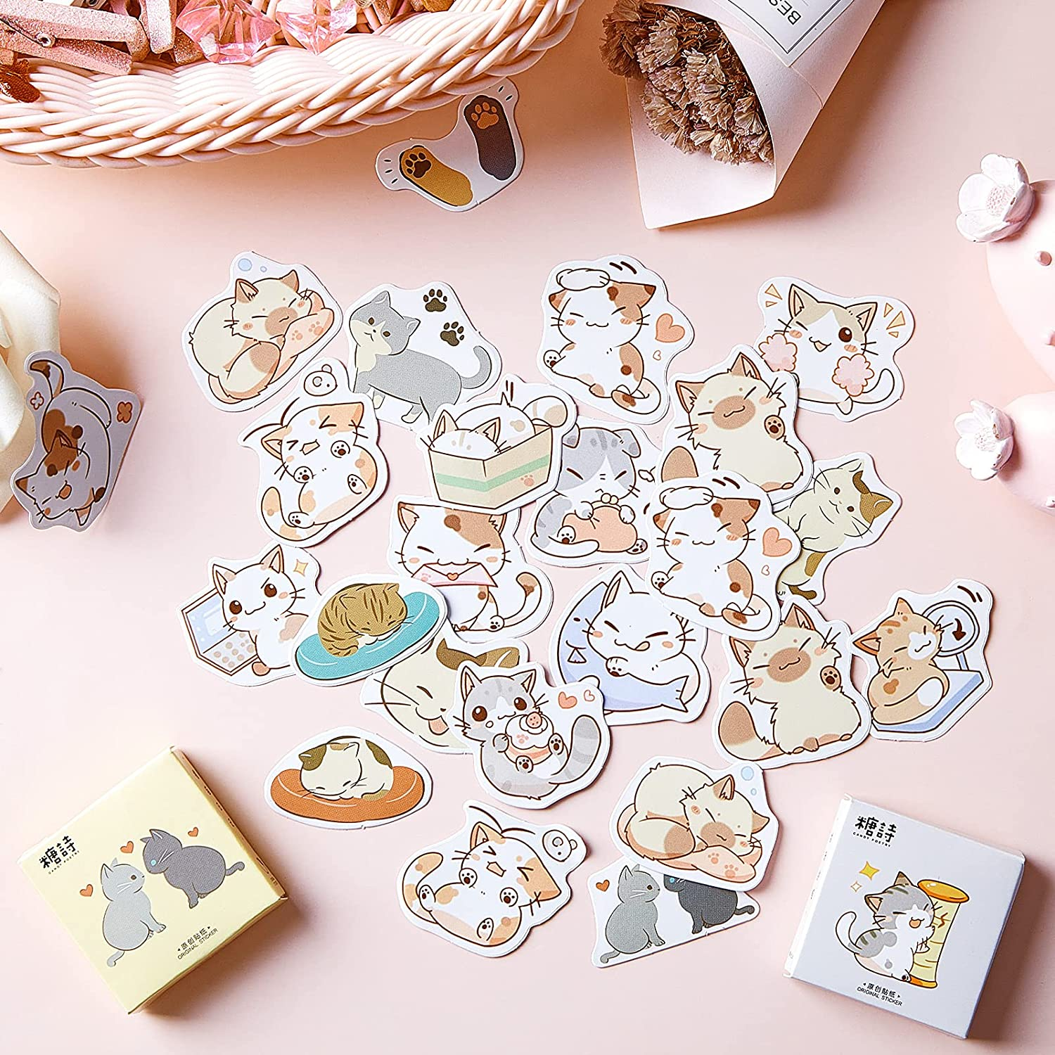 2 Boxes/ 90 Pieces Small Size Cat Theme Stickers Decoration Cute Cats Stickers Self-Adhesive Scrapbooking Stickers for Laptop Planners Scrapbook Suitcase Diary Notebooks Album, 45 Pieces/ Box