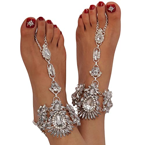 Holylove Foot Jewelry for Women Barefoot Sandals Beach Big Foot Size White  Anklets Chains Wedding Vocation e1cb0e6e7290