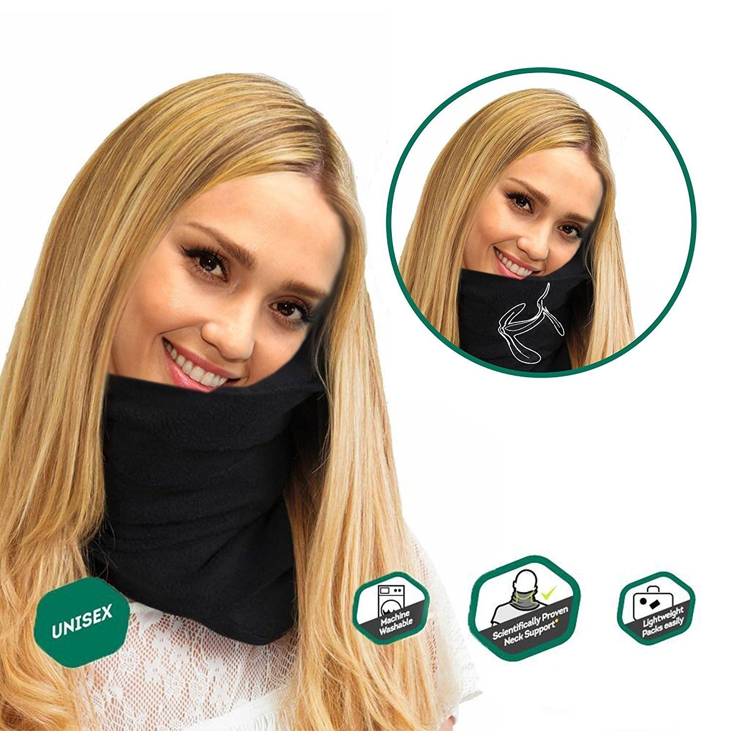 The Super Soft, Compact Trident Travel Pillow - Scientifically Designed for Comfort and Optimal Head & Neck Support - Perfect for Air, Car, Train and Bus Travel - Black Ward Media Group