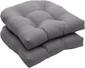 Pillow Perfect Indoor/Outdoor Gray Textured Solid Wicker Seat Cushions, 2-Pack