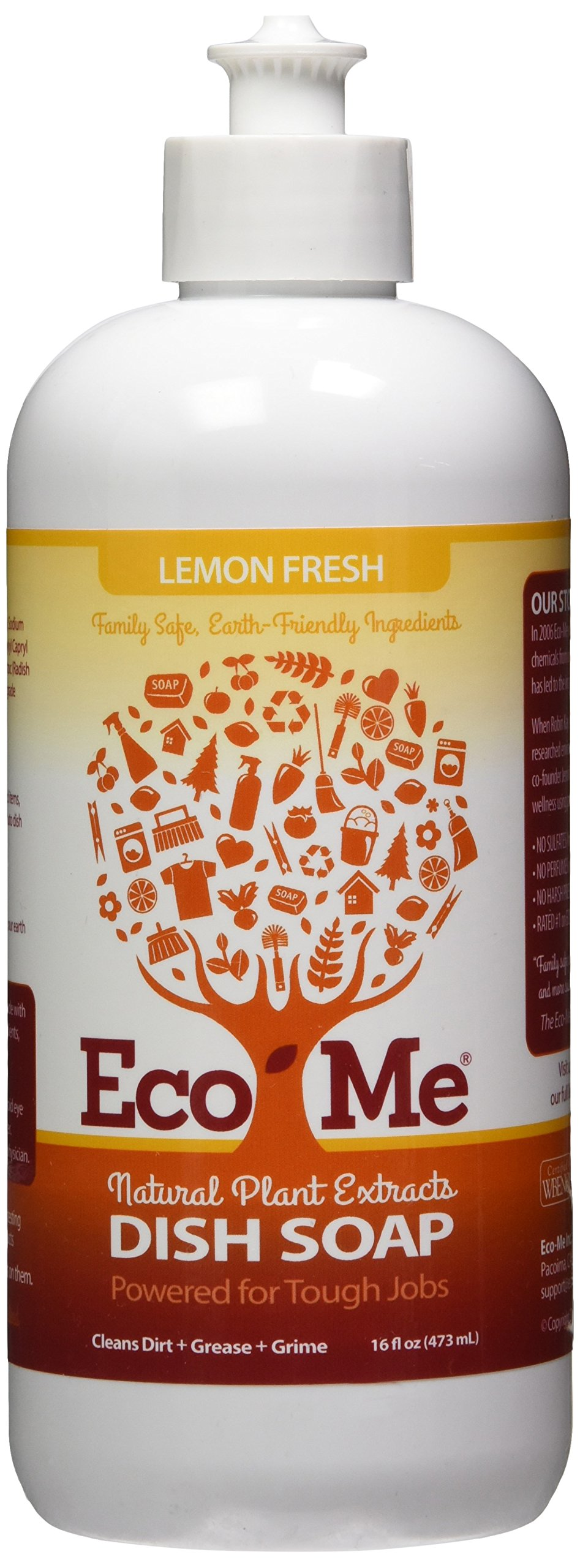 Eco Me Natural Environmentally Friendly Sudsing Liquid Dish Soap, Healthy Lemon Fresh Scent, 16 Ounce Bottle, Pack of 6