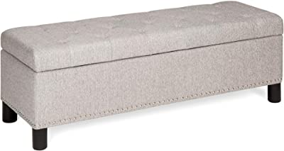 Best Choice Products 48in Multifunctional Rectangular Tufted Upholstered Linen Fabric Padded Storage Ottoman Bench Footrest Furniture for Entryway, Living Room, Bedroom w/Stud Rivets - Gray