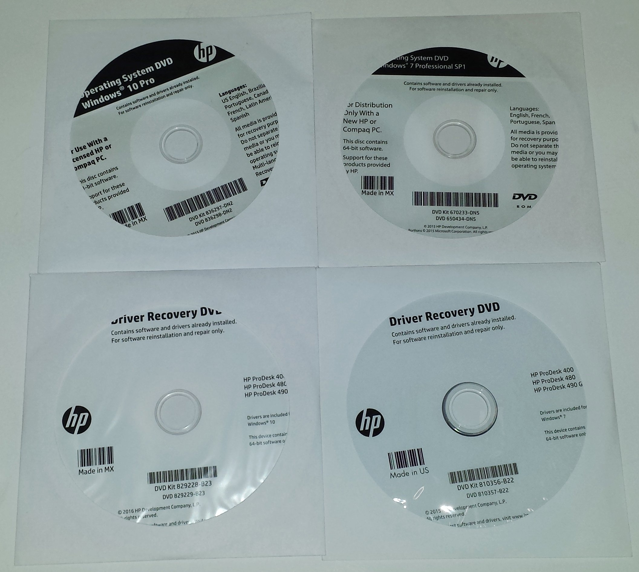 Windows 7 Pro OS and Windows 10 Pro OS and Driver DVDs for HP ProDesk 400, 480, 490