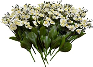 Sia Home Fashions 12-Pack Décor Permanent Botanicals 11-Inch Orchid Spray, Mini, White
