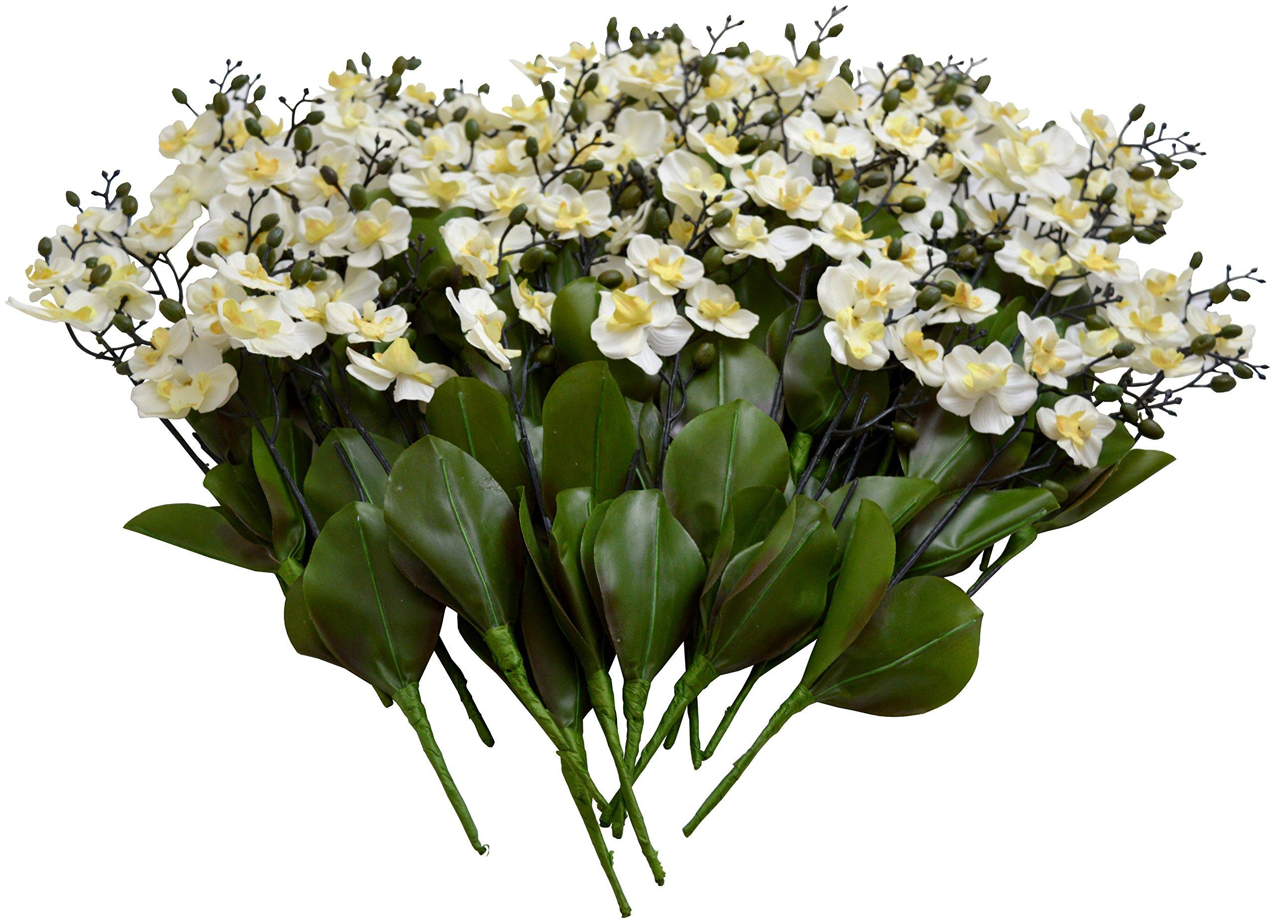 silk flower arrangements sia home fashions 12-pack décor permanent botanicals 11-inch orchid spray, mini, white